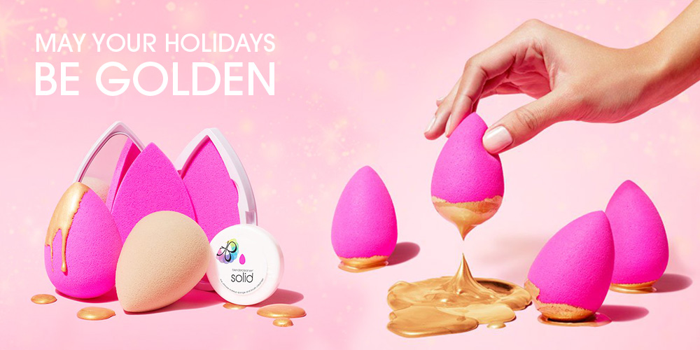 beautyblender dipped in gold